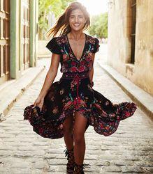 New Women Long  Maxi Evening Party Chiffon Floral Dress Summer Beach Dresses Sundress Women Clothes
