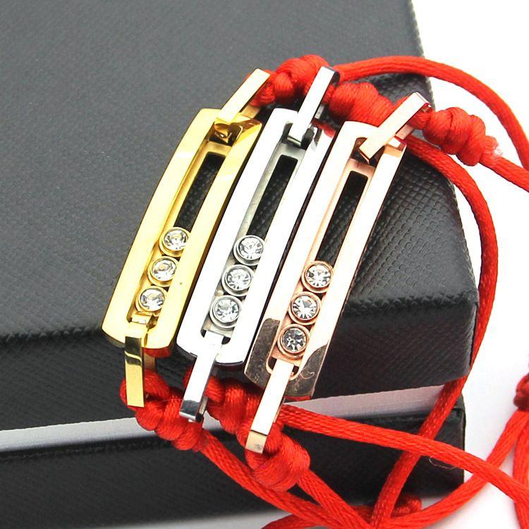 TYME Stainless Steel rose gold color love bracelet Three slip drills red rope bracelets, ladies silver h bracelets&bangle women