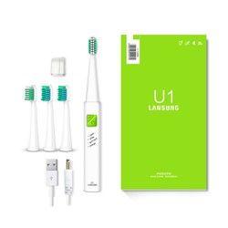 LANSUNG ультра звуковая электрическая зубная щетка USB Зарядка перезаряжаемые зубные щетки с 4 шт. сменные головки таймер щетка