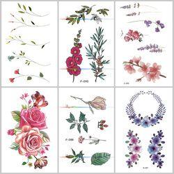 Wyuen Flower Rose Waterproof Temporary Tattoo Sticker for Adults Kids Body Art Women New Design Water Transfer Fake Tatoo P-108