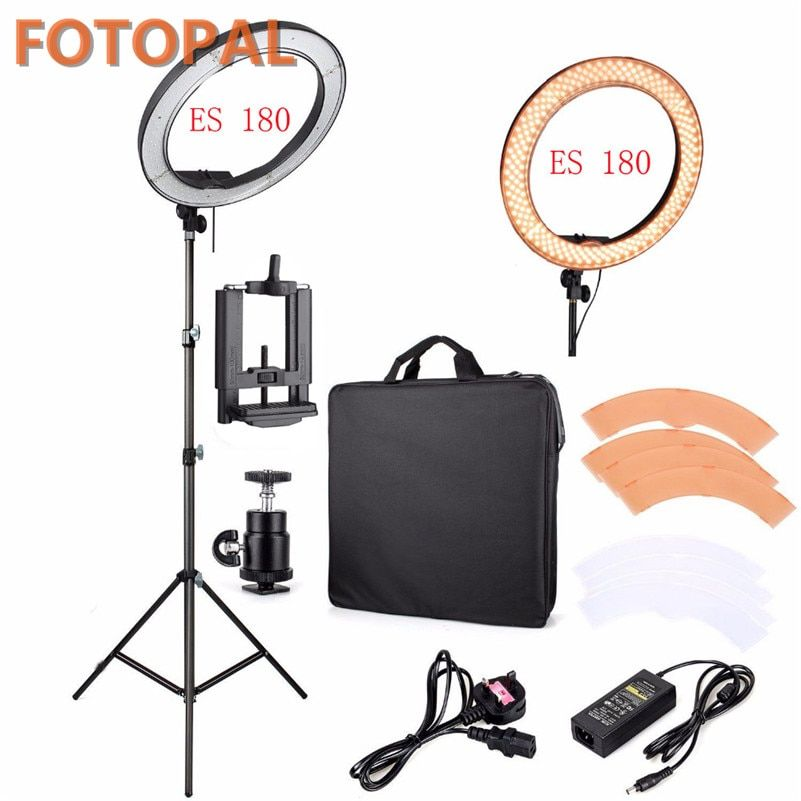 <font><b>Fotopal</b></font> LED Ring Light For Camera Photo/Studio/Phone/Video 1255W 5500K Photography Dimmable Ring Lamp with Plastic Tripod Stand