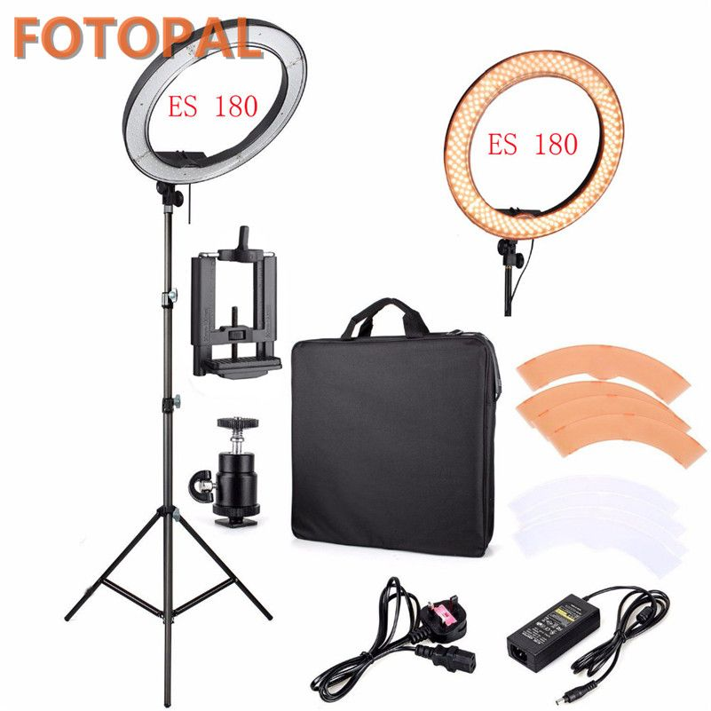 Fotopal LED Ring Light For Camera Photo/Studio/Phone/Video 1255W 5500K Photography <font><b>Dimmable</b></font> Ring Lamp with Plastic Tripod Stand