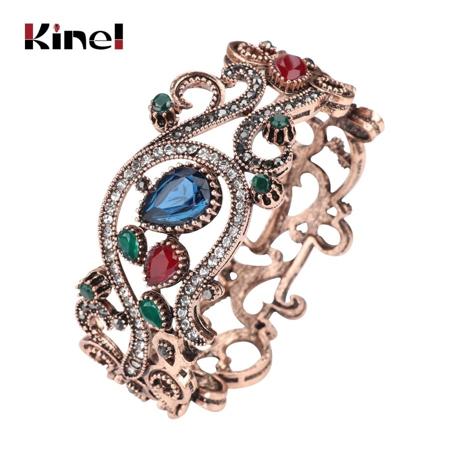 2017 New Trendy Turkish Hollow Flower Sculpture Bracelet Bangle Retro Jewelry Antique Gold Color Pulseira kit Party Accessories