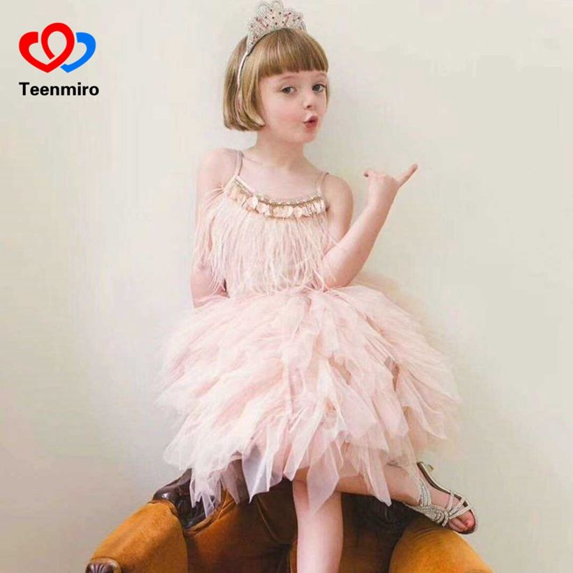 New Handmade Princess Dresses for Girls Summer Swan Feather Drill Sequins Pearl Dress Girls Birthday Wedding Performance Costume