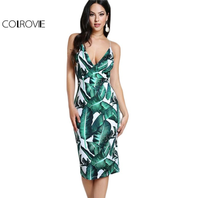 COLROVIE Backless Fitted Slip Dress <font><b>Green</b></font> Tropical Print Sexy Women Summer Dresses 2017 Plunge Neckline Bodycon Club Party Dress