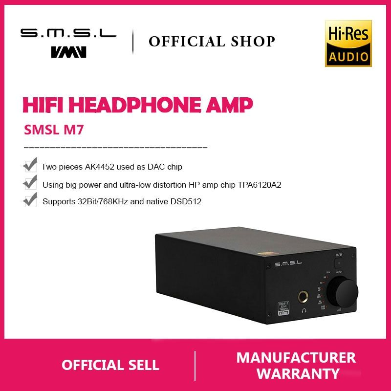 SMSL M7 2xAK4452 32Bit/768KHz DSD512 Hi-Fi Audio USB DAC with Headphone Amplifier USB Coaxial Optical Input RCA 6.35 Jack Output