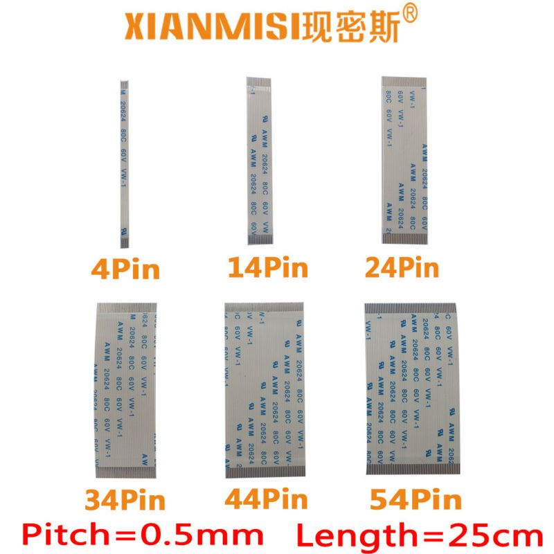 FFC/FPC Flach Flex Flachbandkabel 4Pin 14Pin 24Pin 34Pin 44Pin 54Pin gleichen Seite 0,5mm Pitch AWM VW-1 20798 60 V Länge 25 cm 5 STÜCKE