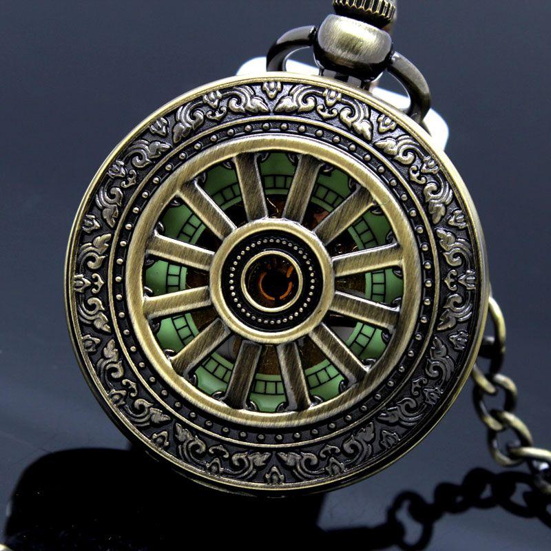 Leuchtet in Dunklen Vintage Mechanische Skeleton Hohle Anhänger Halskette Kette Analog Hand Wind Tasche Uhren Männer Frauen Kinder Geschenke