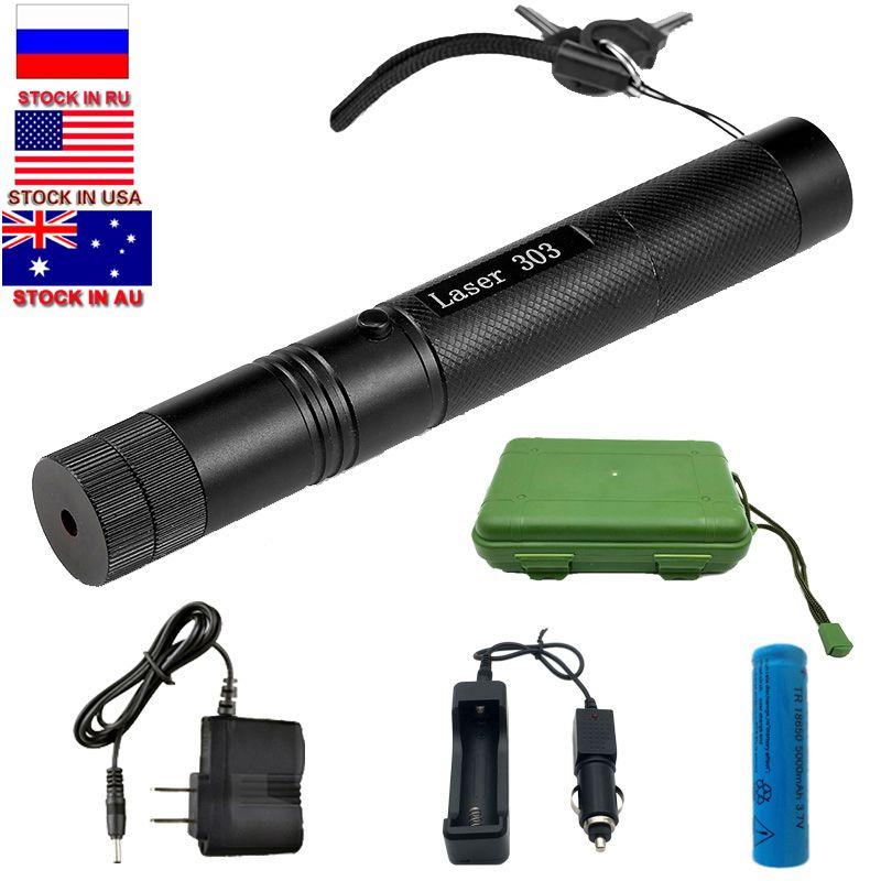 Livraison directe militaire 532nm 5 mw 303 Laser vert pour chasse verde stylo Laser pointeur brûlant faisceau brûlure Match + 18650 batterie