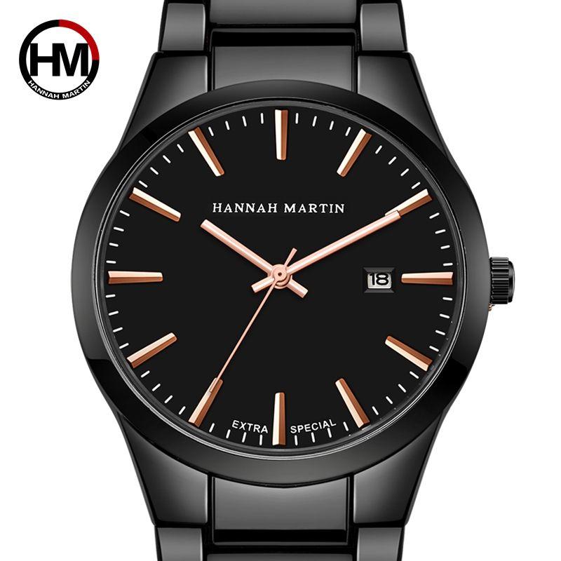 Hannah Martin Hommes Montres Top Marque De Luxe Hommes de Montre Hommes Montre En Acier Inoxydable Montre Horloge erkek kol saati horloges mannen