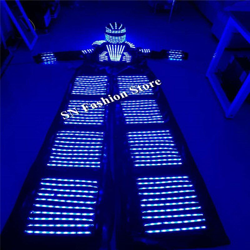HH811 colorido LED robot luminoso traje discotecas suministro evento Fiesta DJ trajes de baile ropa casco