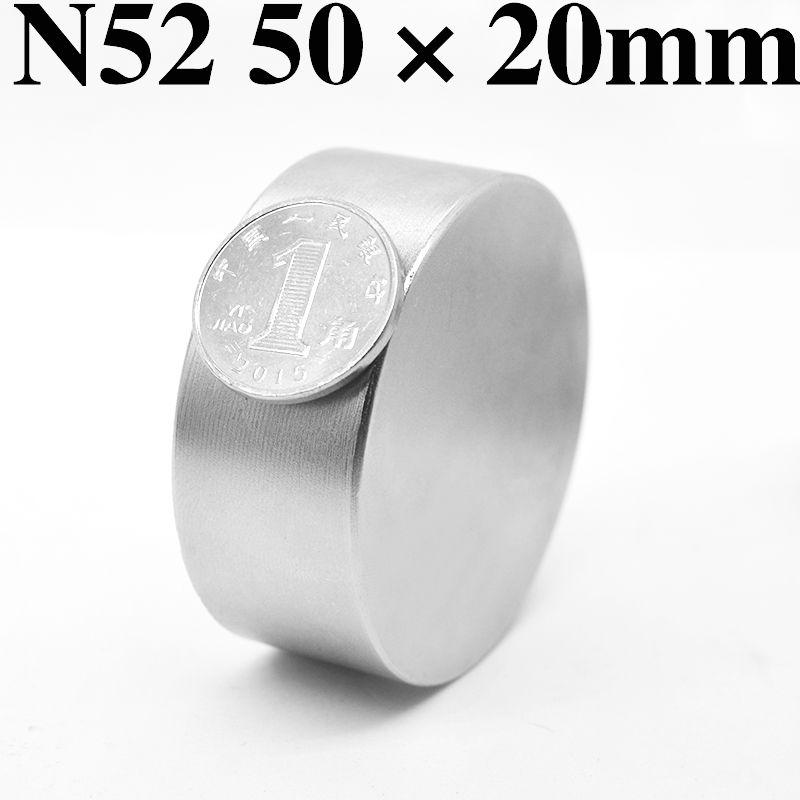 HYSAMTA 1 pièces N52 aimant Néodyme 50x20mm rond super fort disque de terre Rare puissant gallium métal aimants eau mètres orateur