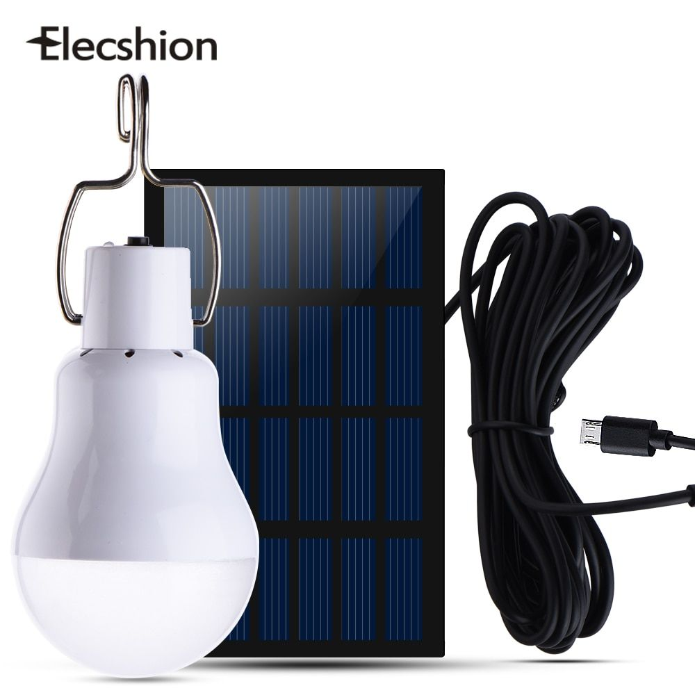 Elecshion Solar Power Led Energy Camping Bulb Light Lamp 15W Outdoor Garden Lawn Tent Fishing Travel Night Light Used 5-6hours