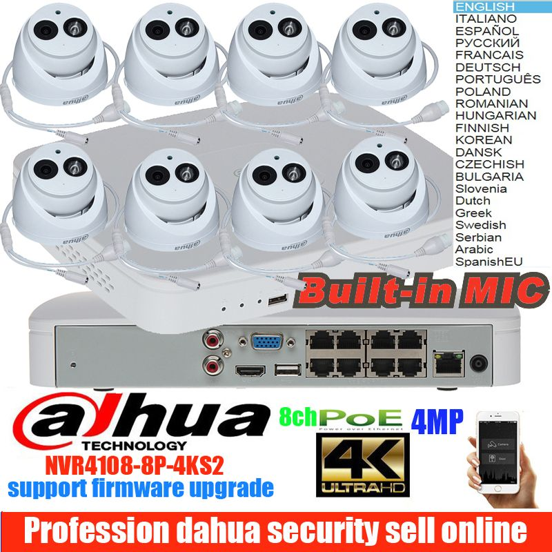 Original dahua mutil sprache H.265 4MP POE IP Kamera DH-IPC-HDW4433C-A System Sicherheit Kamera Outdoor 8CH NVR4108-8P-4KS2 Kit