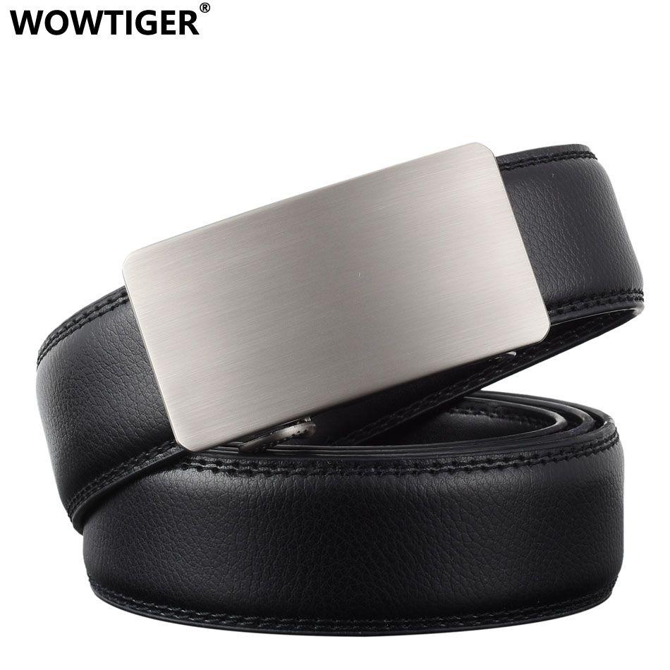 WOWTIGER nouvelles ceintures de créateur de mode pour hommes boucle coulissante cliquet luxe en cuir automatique ceinture homme cinto masculino ceinture