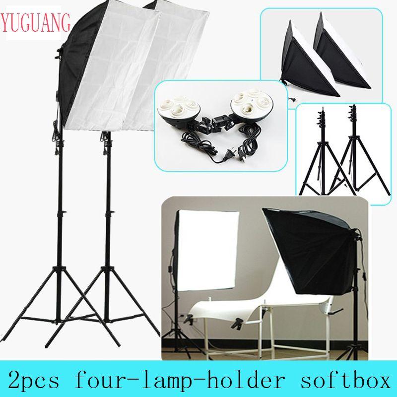 Studio Photo 50*70 cm Softbox éclairage continu 4 en 1 E27 douille lampe support avec 2 pièces lumière support Kit de photographie
