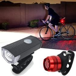 Super Bright USB Led Bike Waterproof Front Lamp Bicycle Light 3 Light Modes Strap Rechargeable Headlight &Taillight Set P30