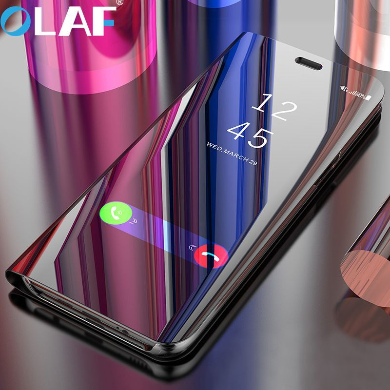 Olaf Flip Cover Leather Case For Samsung Galaxy S8 S9 Plus Note 8 For Samsung S6 S7 Edge Phone Case Smart Chip Clear View Cover