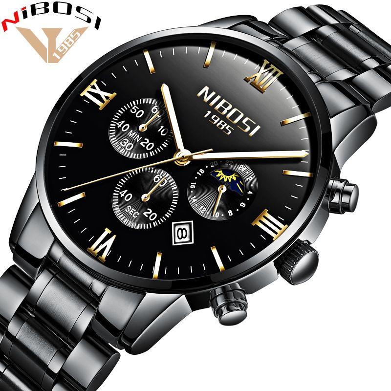 NIBOSI Luxus Uhren Männer Voller Stahl Band Uhr Männer Uhr Männer Sport Wasserdichte Uhren Montre Homme 2018 Relogio Masculino Saat