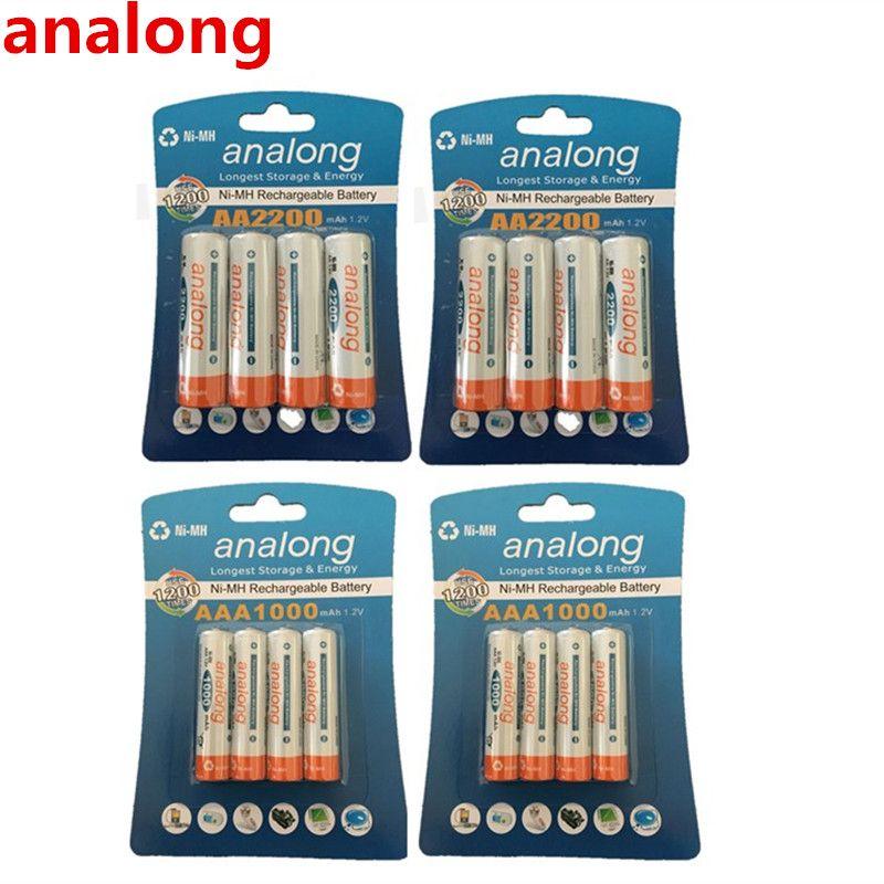 Analong AA batterie Rechargeable 2200 mAh 1.2 V AA + ni-mh AAA batterie 1000 mAh batteries rechargeables mélanger les couleurs pour la puissance des jouets