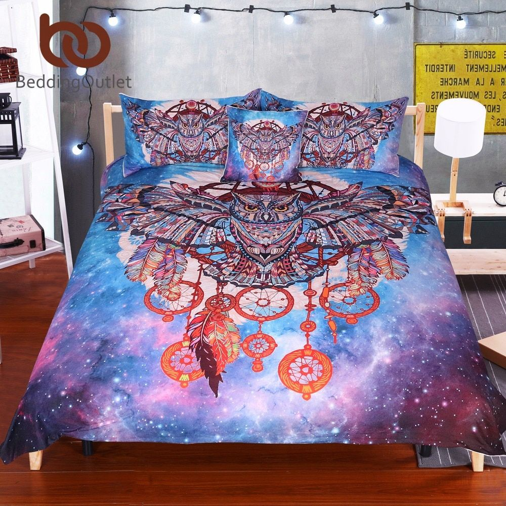 BeddingOutlet Owl Dream Catcher with Feathers Bedding Set Watercolor Bohemia Galaxy Duvet Cover with Pillowcases Boho Bedclothes