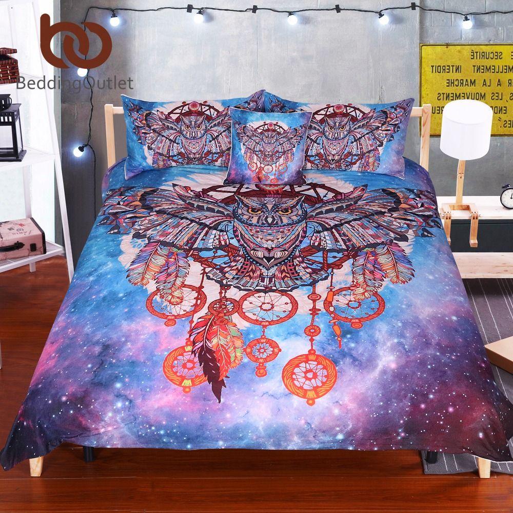 BeddingOutlet hibou attrapeur de rêves avec plumes ensemble de literie aquarelle bohême Galaxy housse de couette avec taies d'oreiller Boho literie