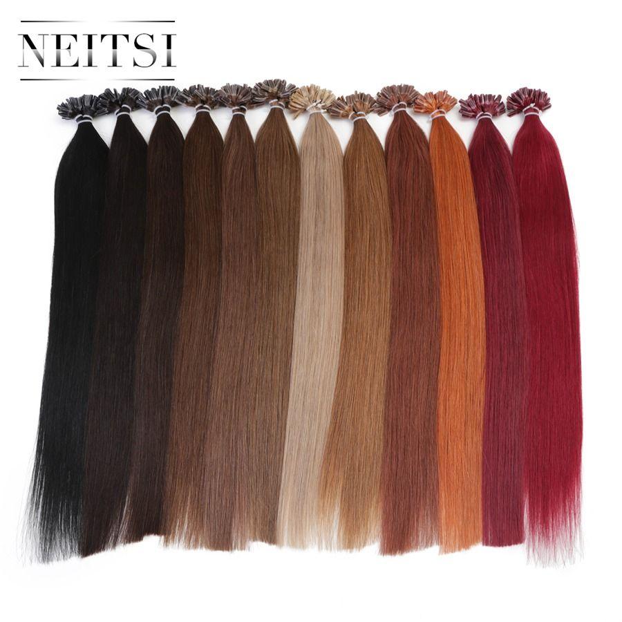 Neitsi droit kératine Capsules Fusion humaine cheveux ongle U pointe Machine fait Remy pré collé Extension de cheveux 16