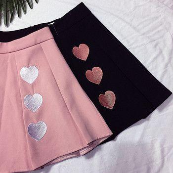 Сезон: весна–лето Высокая Талия юбки Для женщин Симпатичные три любовь вышивка юбки 2018 Harajuku Сладкий Kawaii плиссированные Skir