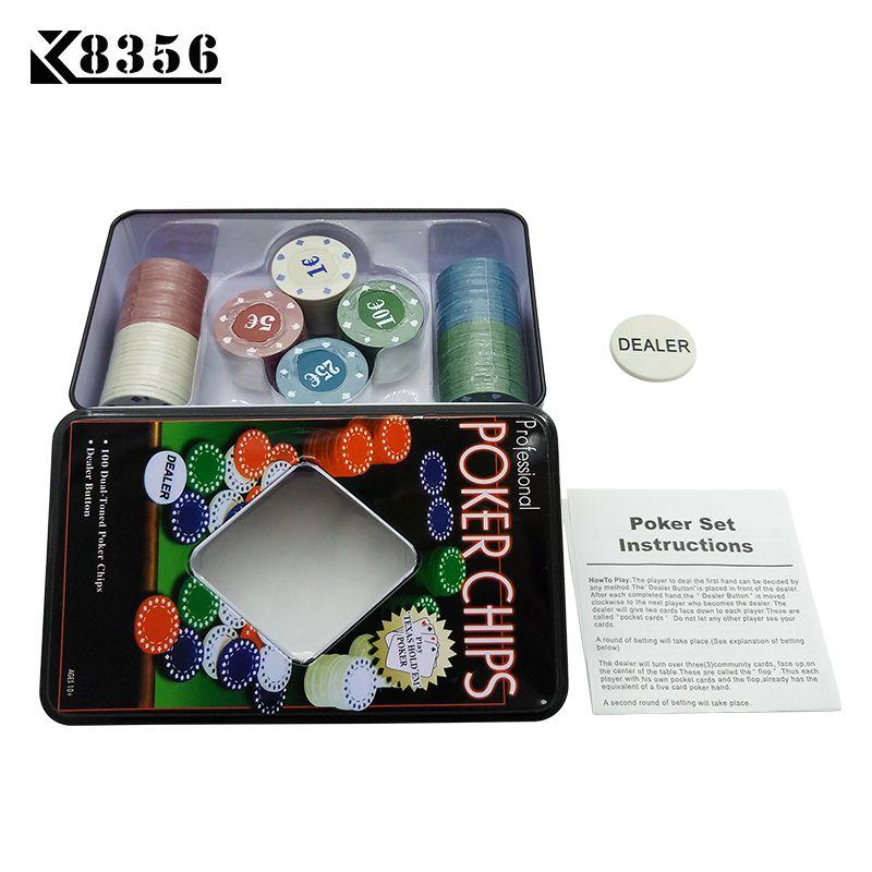 K8356 высокое качество Casino комплект Техас Фишки для покера 100 шт. игровые жетоны тонкой Пластик чипов 1/5/10/25 евро четырех пар дилер