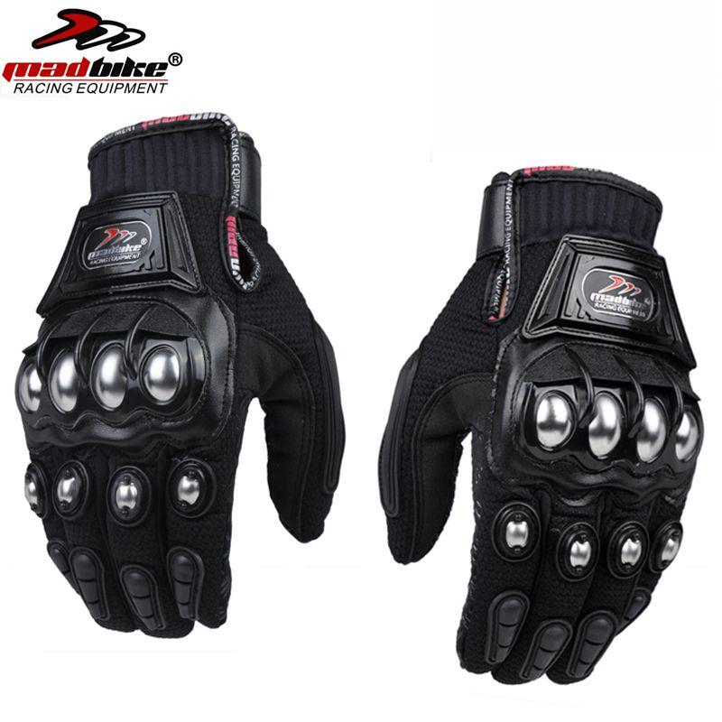 Mad Bike sports de plein air doigt complet chevalier équitation moto gants de course respirant maille tissu hommes femmes gant en acier