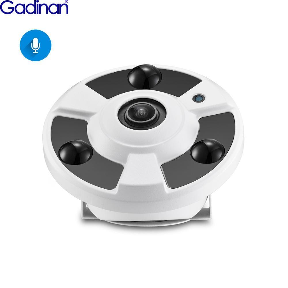 Gadinan H.265 caméra IP micro Audio 1.7 MM objectif Fisheye 5MP 4MP 2MP panoramique ONVIF Surveillance extérieure Xmeye pourrait DC12V/POE 48 V