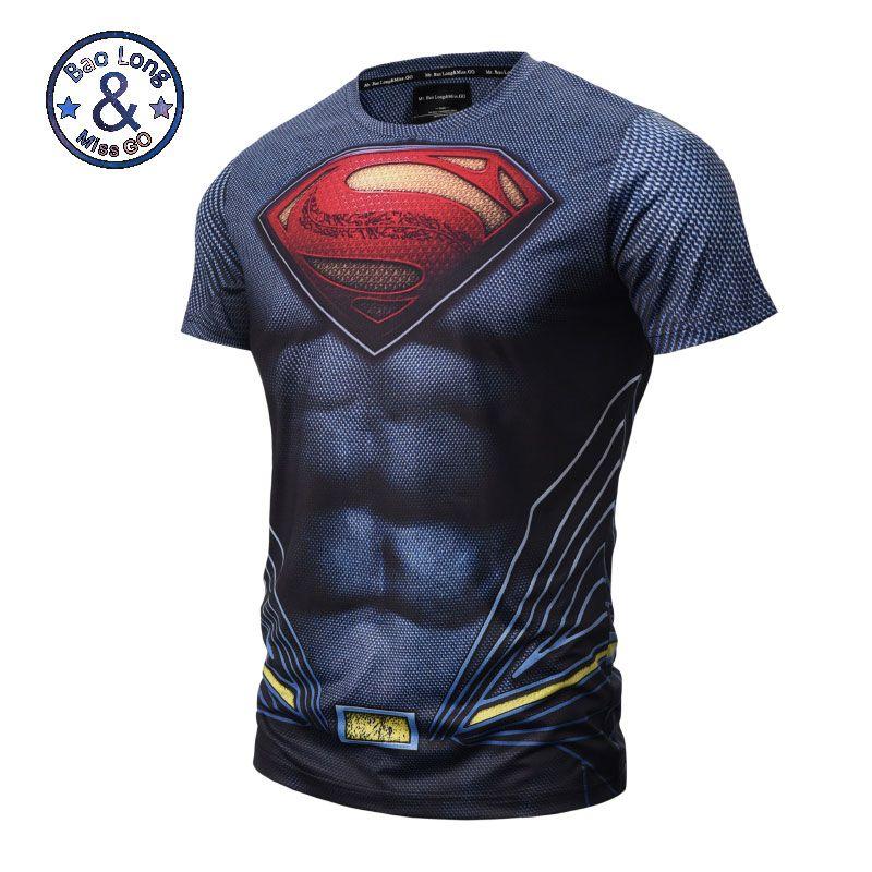 Haute qualité Maille respire Vêtements Pour Hommes Élastique t-shirt 3D Superman Court manches T-shirt Hommes 3D T-shirt T-shirts Tops Chemises M-3XL