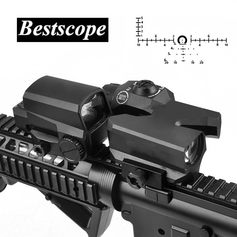 L Brand D-EVO Dual-Enhanced View Optic Reticle Rifle Scope Magnifier with LCO Red Dot Sight Reflex Sight Rifle Sights