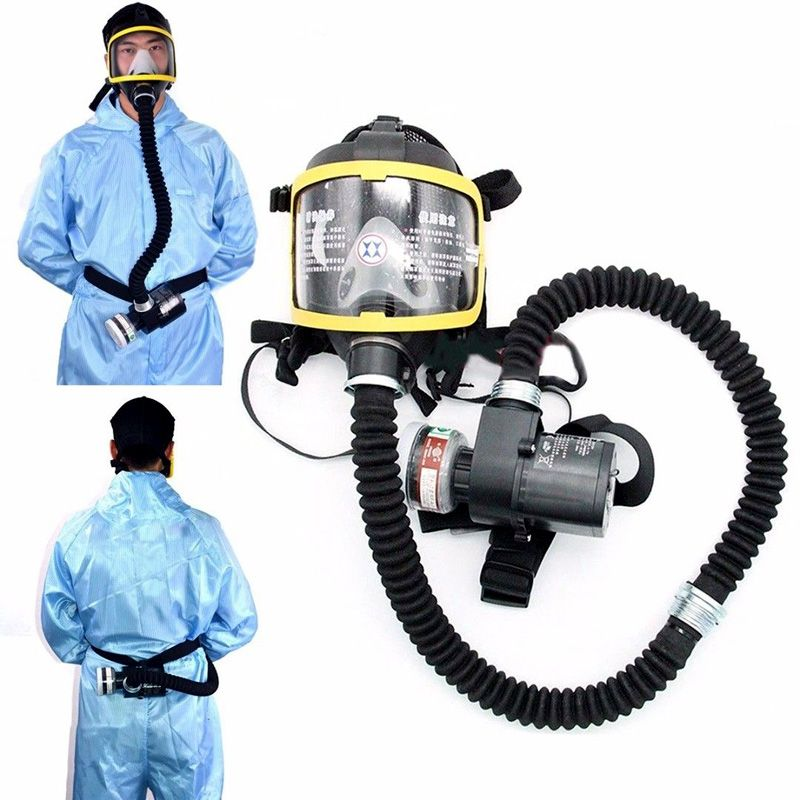 110/220V Electric Supplied Air Fed Full Face Gas Mask Constant Flow Respirator System Device LCC77