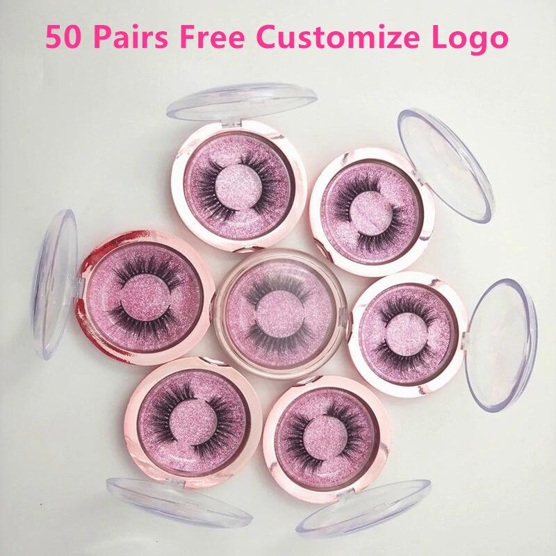 50 Pairs 3D nerz wimpern falsche wimpern natürliche lange wimpern professionelle handgemachte make-up schönheit kosmetische werkzeuge machen logo freies