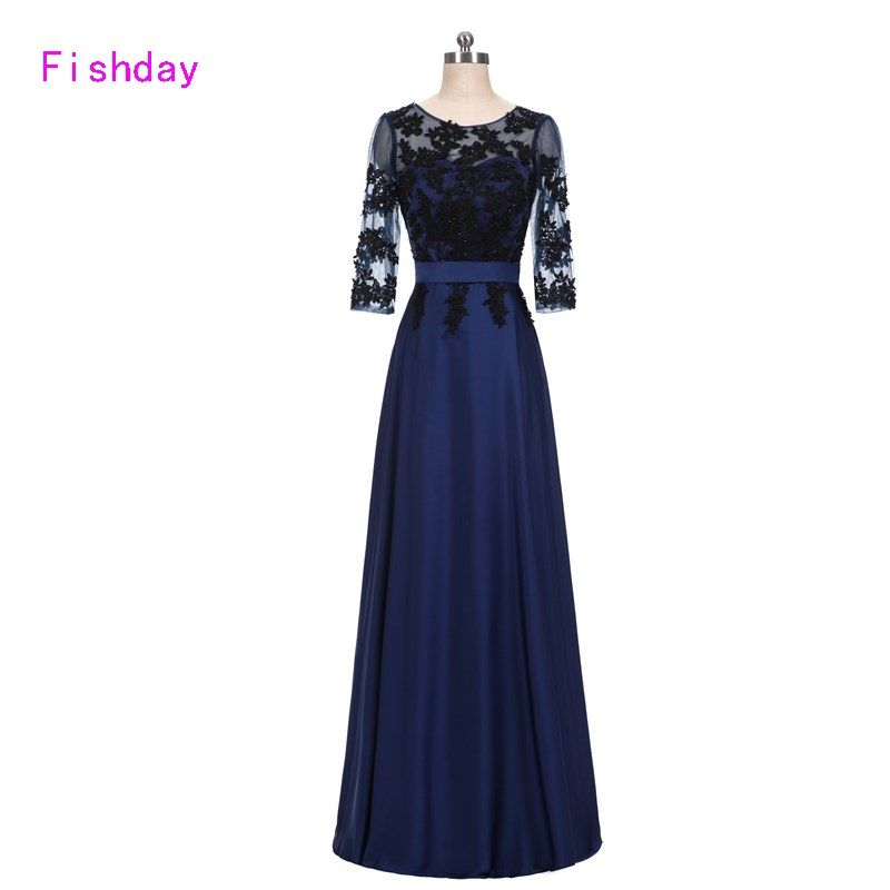 2017 Lace Long Sleeve Dark Navy Blue Women Appliques Elegant Formal Evening Dresses China Vestido Longo Occasion party gowns A30