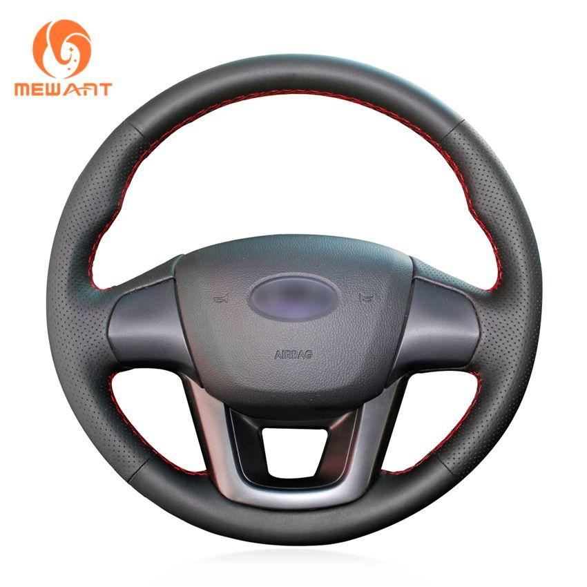 MEWANT Black Artificial Leather Car Steering Wheel Cover for Kia K2 Kia Rio 2011 2012 2013