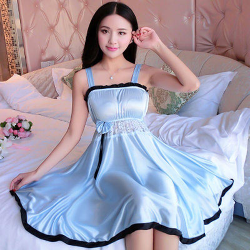 Spaghetti sangle vêtements de nuit femmes chemise de nuit en soie chemises de nuit dentelle Sexy Lingeries grande taille XL femme solide lingerie de nuit