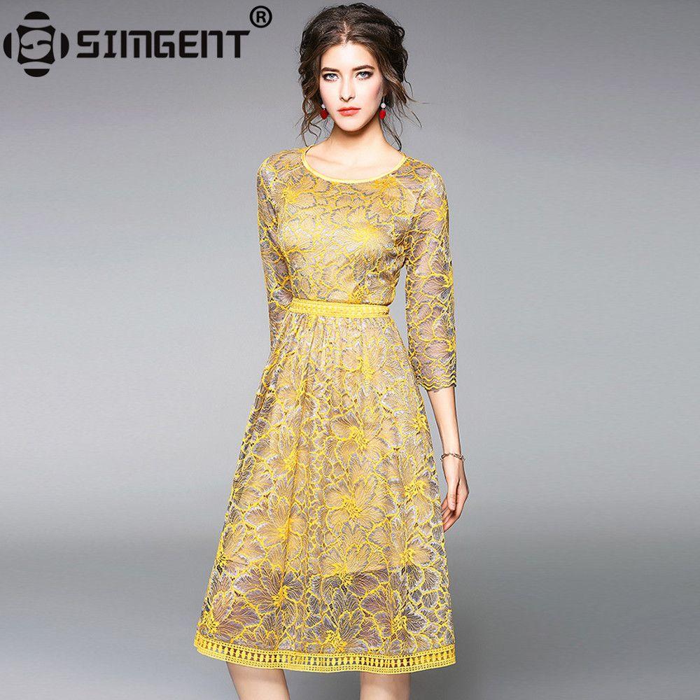 Simgent Lace Dress 2018 New Women Three Quarter Sleeve Office Casual Elegant Slim Bodycon Skater Dress Women's Clothing SG712311