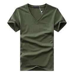 Лето 2017, хит продаж, Мужская футболка с v-образным вырезом, хлопковые топы с короткими рукавами, высококачественные повседневные мужские обт...