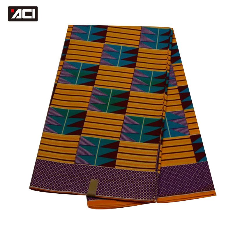 ACI 100% Cotton Material African Ankara Fabric,Ghana Kente,African Kente Fabric 6 Yards,Guaranteed Real Wax Ghana Kente Cloth