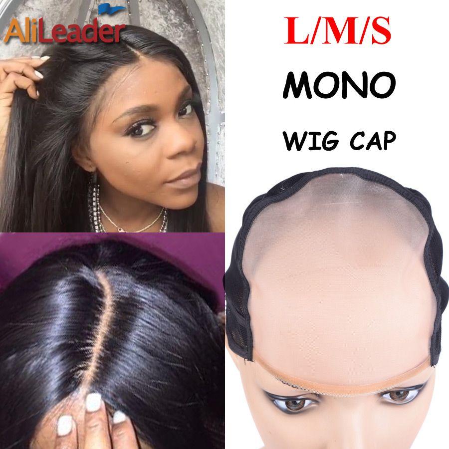 Mejor monofilamento-Wig Cap más similar al cuero cabelludo piel tapa Pelucas L m s tamaño mono peluca cap para hacer Pelucas con correa ajustable 1 unid