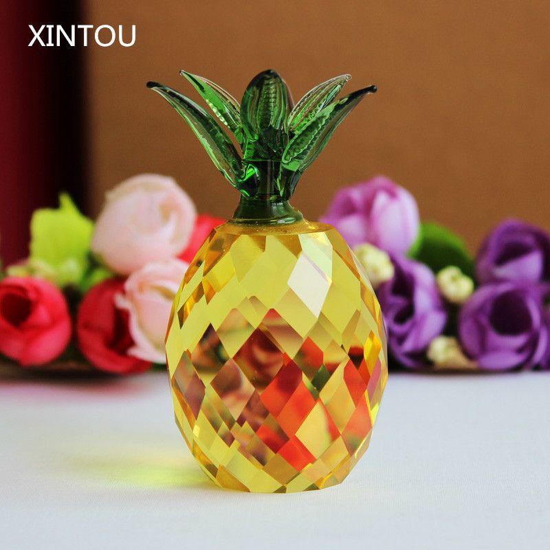 XINTOU cristal verre ananas miniature Figurine artisanat presse-papiers Feng shui figurines miniatures accessoires de décoration de la maison