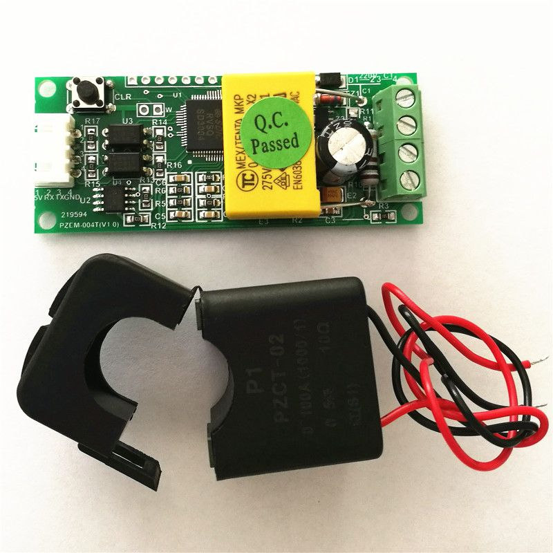 PEACEFAIR PZEM-004T AC 80-260 v 100A TTL Port Voltmètre Électrique Power Monitor Volt Amp Puissance D'énergie avec Split CT