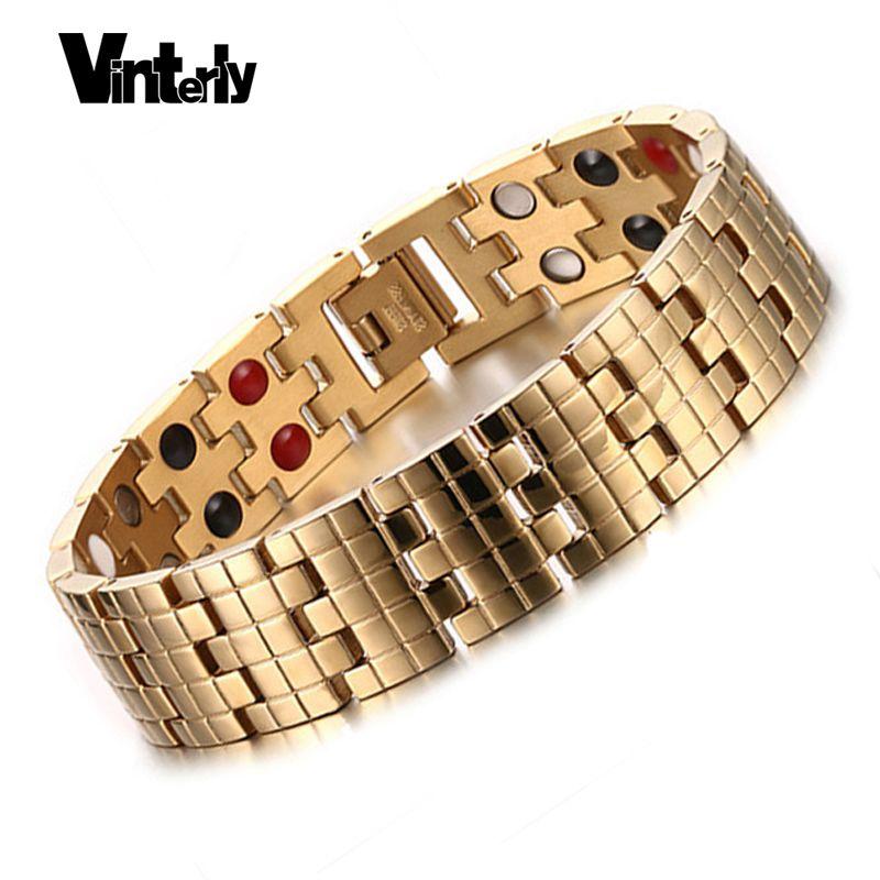 Vinterly Or Couleur Hommes Bracelets Santé Bio Magnétique Germanium En Acier Inoxydable Bracelet Bracelet pour Hommes Conceptions Chaine Lien