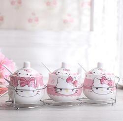 Aman Kemasan Kartun Keramik Hello Kitty Doraemon Mangkuk Gula Rumah Dapur 3 In 1 Set Garam Bumbu Pot Jars Dengan Sendok Kecil