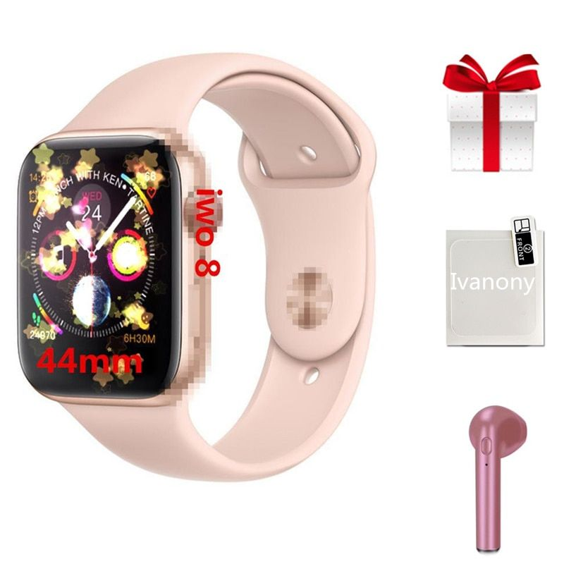 Smartwatch + ecouteur/set 2019 nouveauté IWO 8 MTK2502C bouton rond rouge 44MM série 4 reloj deportivo hombre pour iphone 6 7 X