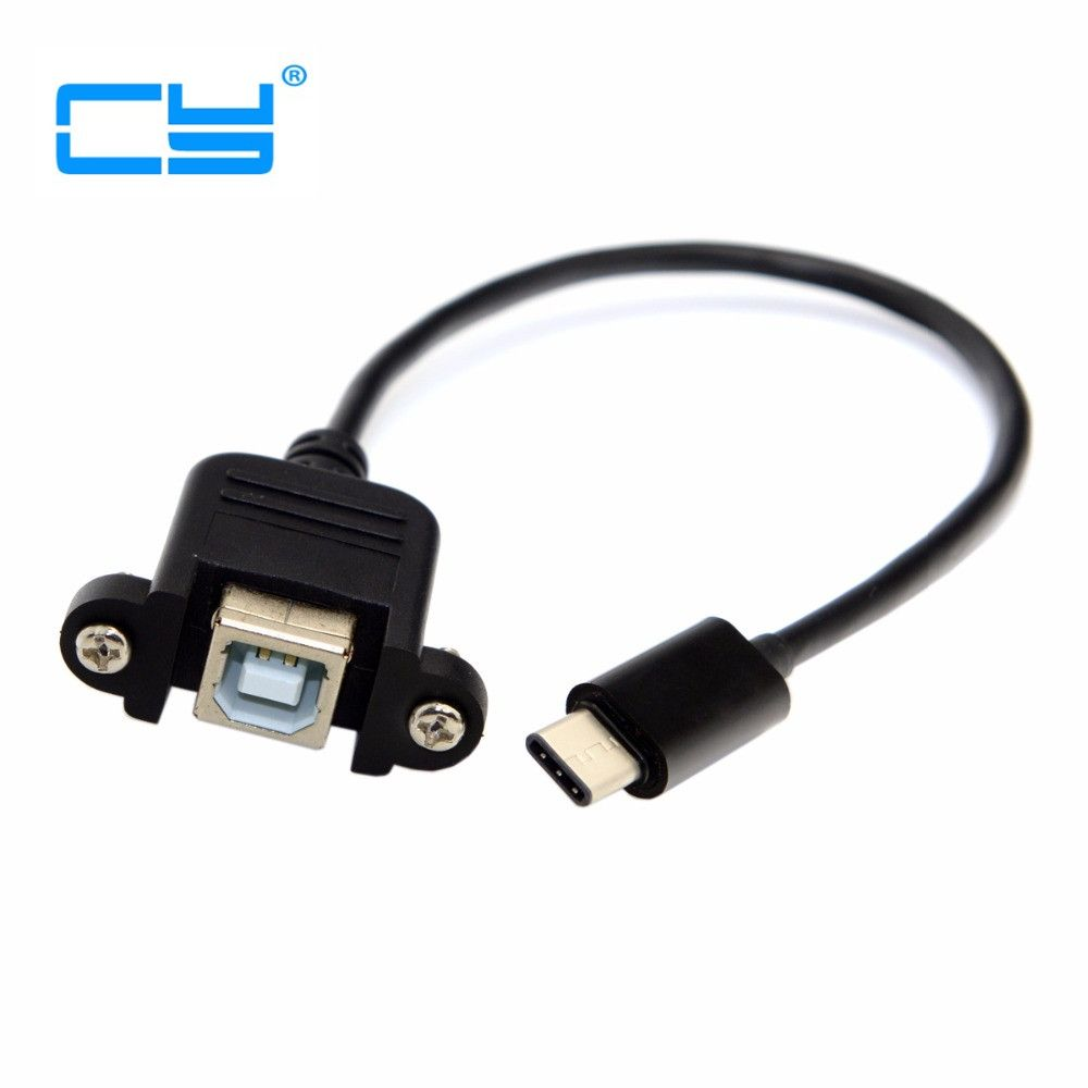 USB-C USB 3.1 Type C Male to Standard USB 2.0 B Type Female Data Cable with screws Panel Mount for Tablet & Cell Phone Type-C