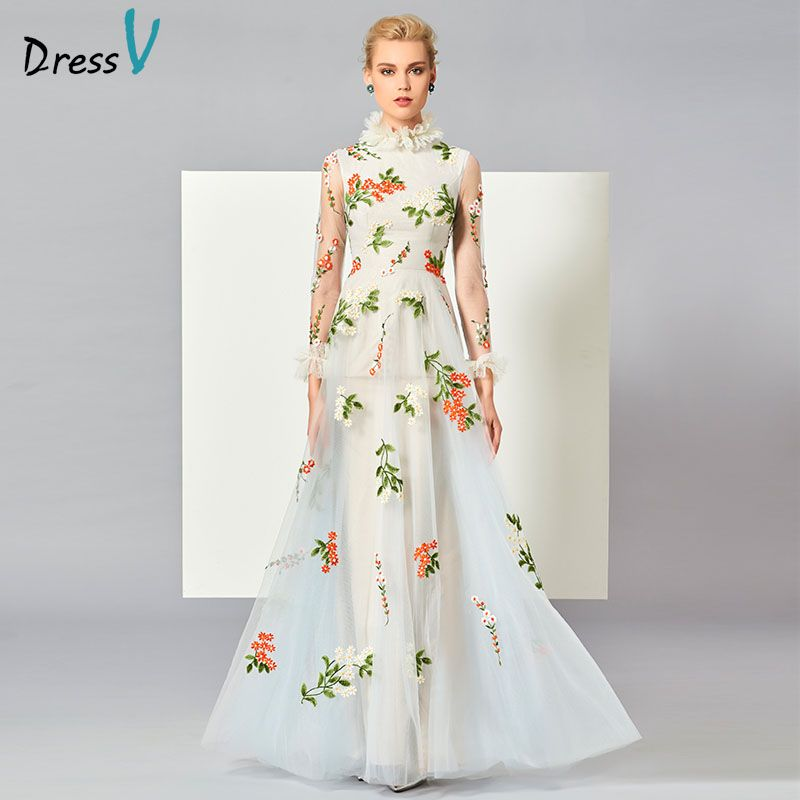 Dressv white appliques long evening dress high neck long sleeve floor length zipper elegant A line formal party evening dresses