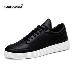 Fooraabo Luxury Brand Men Shoes Leather Casual Black Shoes Mens Krasovki Spring Autumn Lace Up Men Tenis Fashion Sneakers